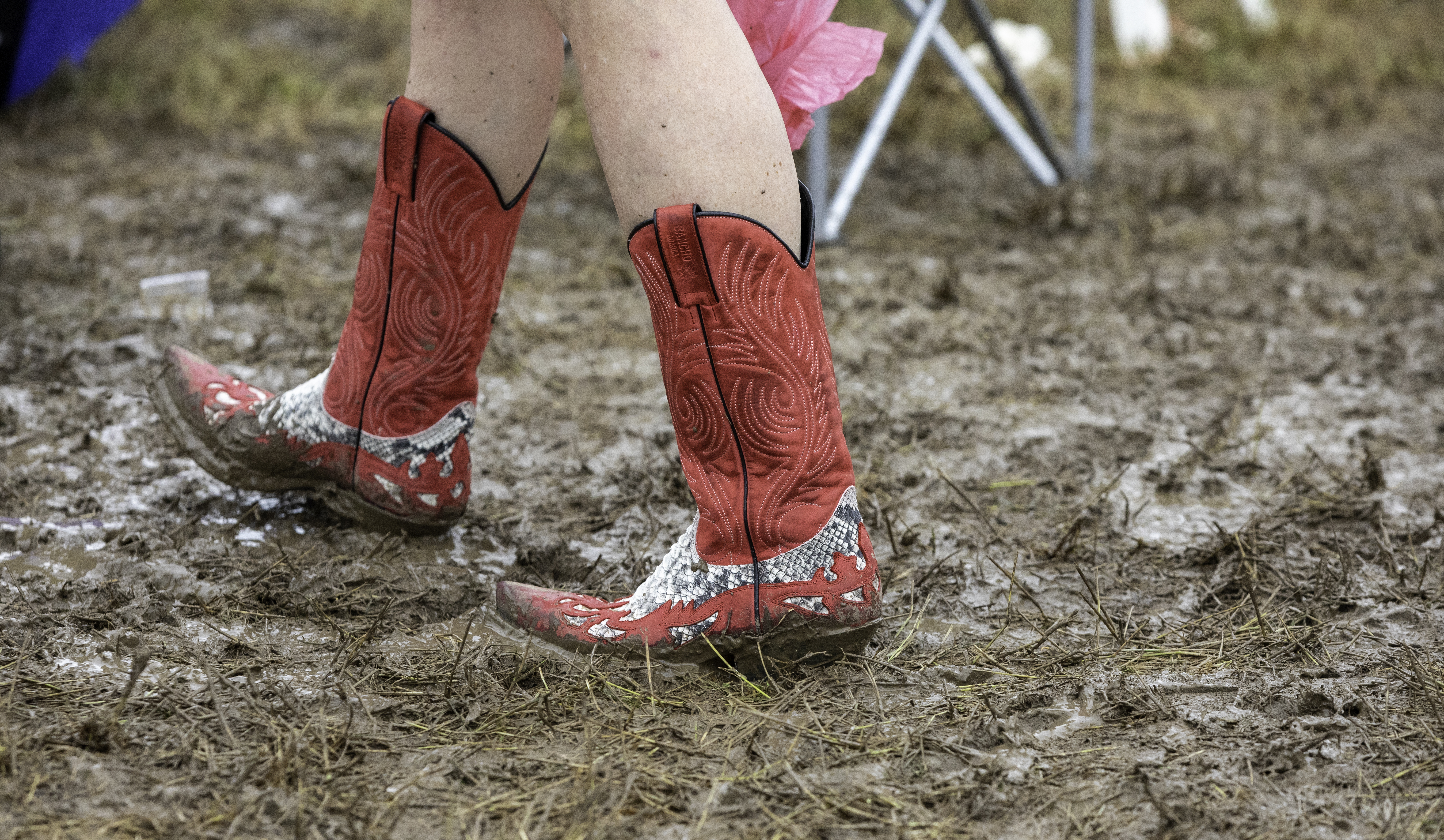 These cowboy boots are made for walking...even in the morning mud - at Tennessee Fields Festival 2021