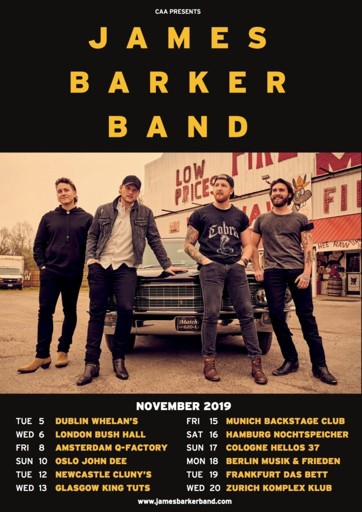 James Barker Band European Tour 2019